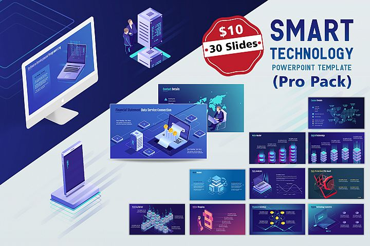 Smart Tech PPT Template Pro pack