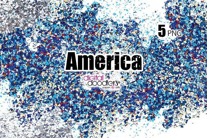 America - Red, White & Blue Confetti Swatches