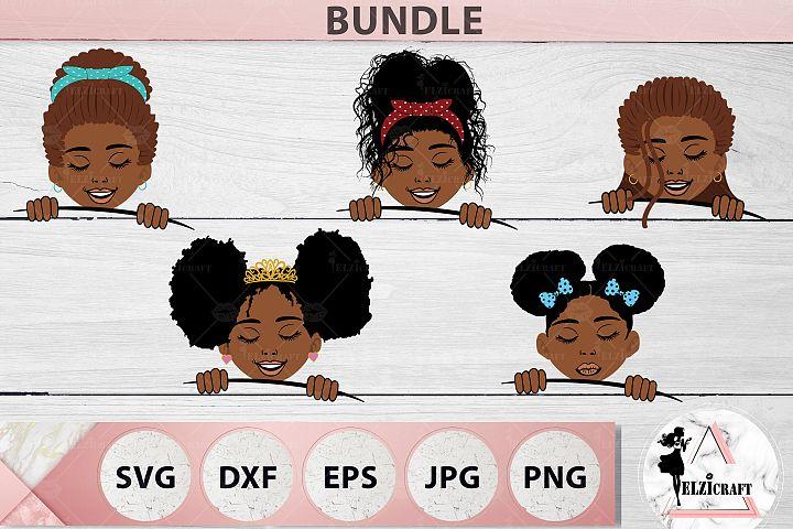 BUNDLE Afro Peeking Kid SVG Cut File