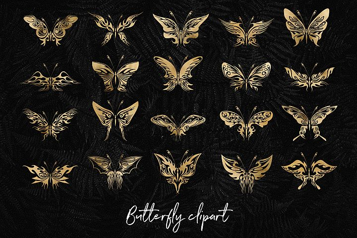 Gold Butterfly Clipart