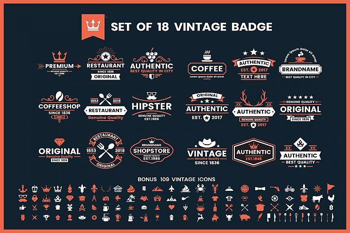 Vintage Badge & Objects Vector Set