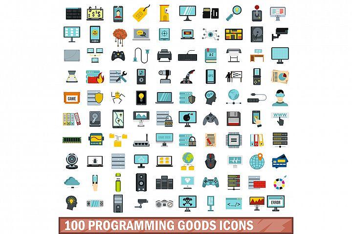 100 programming goods icons set, flat style
