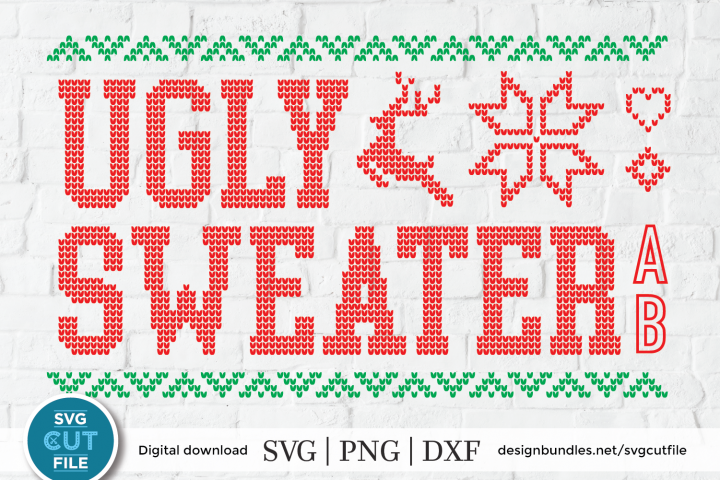 Ugly Christmas Sweater font, Tacky Christmas Jumper font OTF