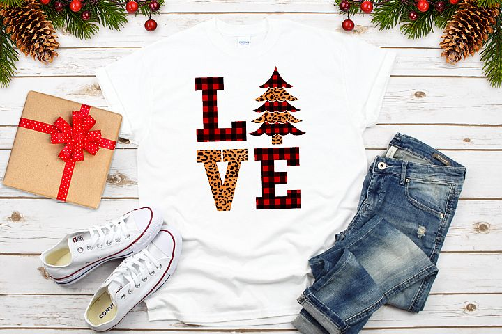 Love Christmas Buffalo and gepard Plaid Svg, Xmas Tree