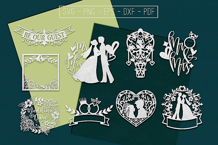Wedding Papercut Templates Bundle, Marriage Sign SVG, DXF