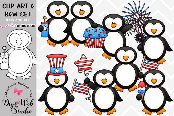 Clip Art / Illustrations - 4th of July Penguins