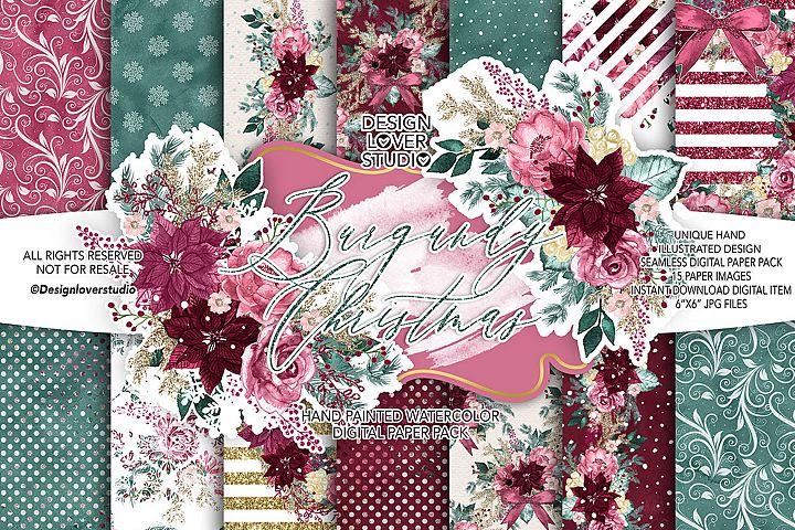 Burgundy Christmas digital paper pack II