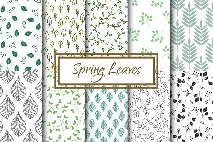 Spring Leaves Seamless Patterns