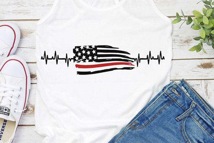 heartbeat firefighter american flag