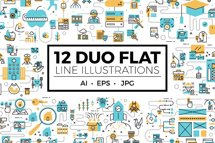 Duo Flat Line Web Banner Illustration V1