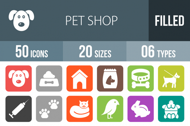50 Pet Shop Filled Round Corner Icons