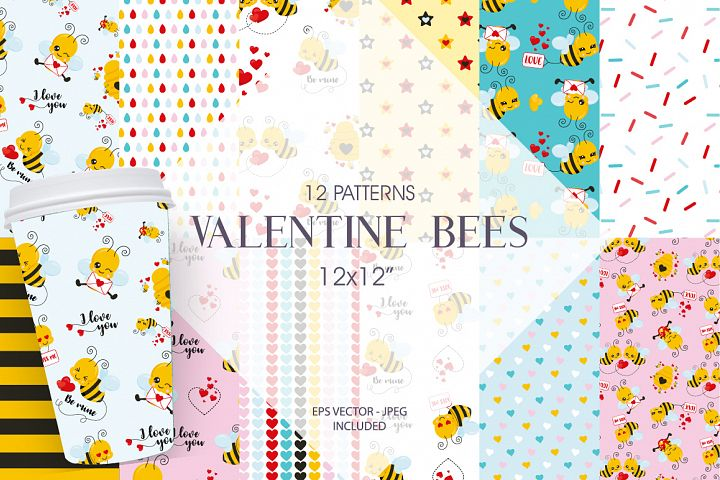 Valentine Bees Paper Graphic and Illustration