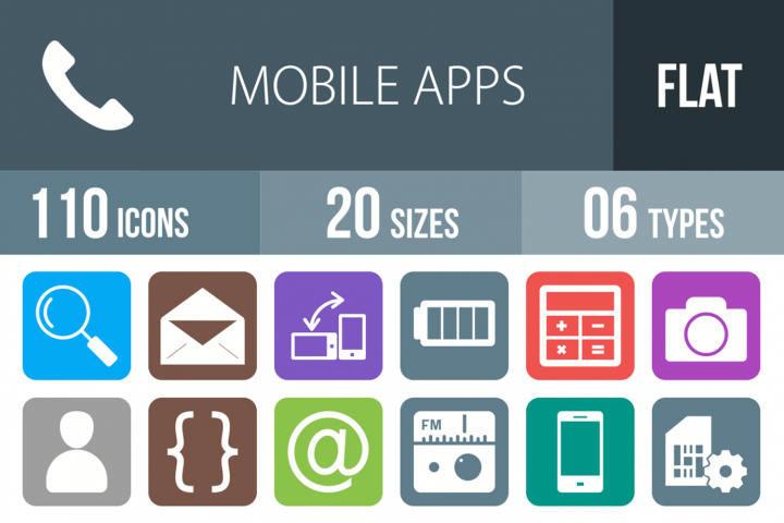 110 Mobile Apps Filled Round Corner Icons