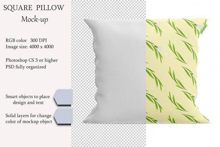 Square pillow mockup. Front view. Product mockup.