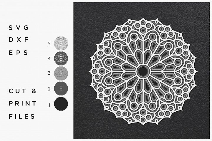 Mandala Svg Cut File Mandala Cut Multilayer Mandala 3d