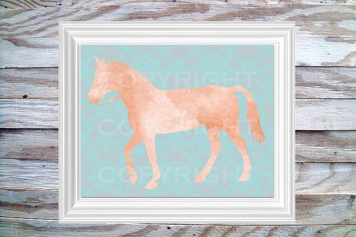 Horse Print, 8 x 10 Watercolor Coral on Aqua Coral Lace