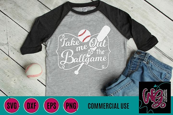 Take Me Out to the Ballgame Baseball SVG DXF PNG EPS