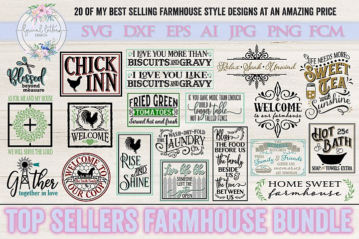 Top Sellers Farmhouse Bundle of 20 SVG DXF Cut Files
