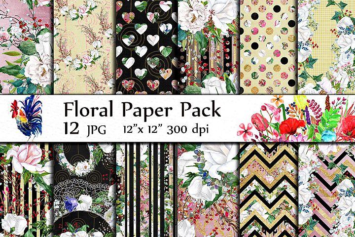 Watercolor Roses digital papers