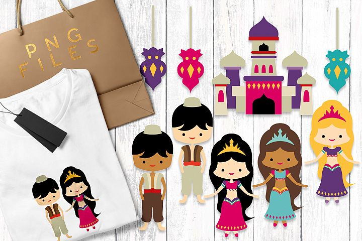Aladdin party clip art illustrations