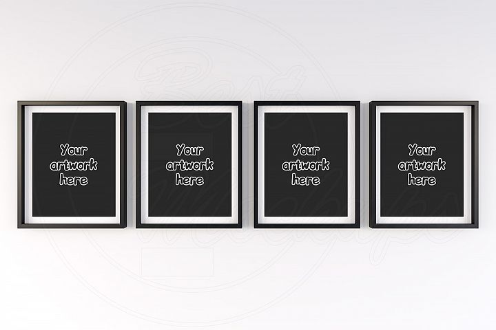 4 matted frames mock-up background