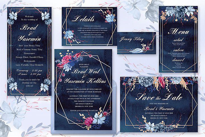 Navy Watercolor Wedding Invitations