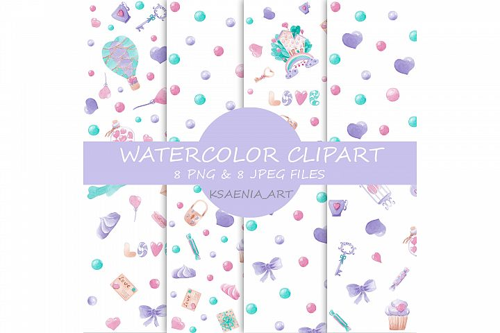 Watercolor seamless clipart, Kids Printables, Pattern