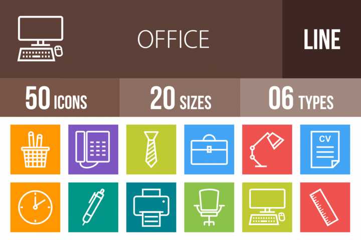 50 Office Line Multicolor B/G Icons
