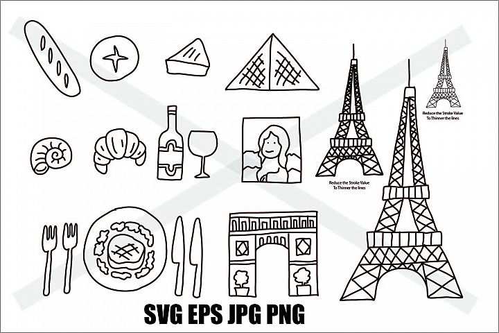 France Element Set - SVG EPS JPG PNG