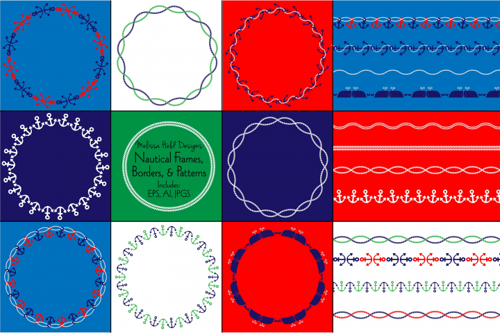 Nautical Frames, Borders, & Patterns