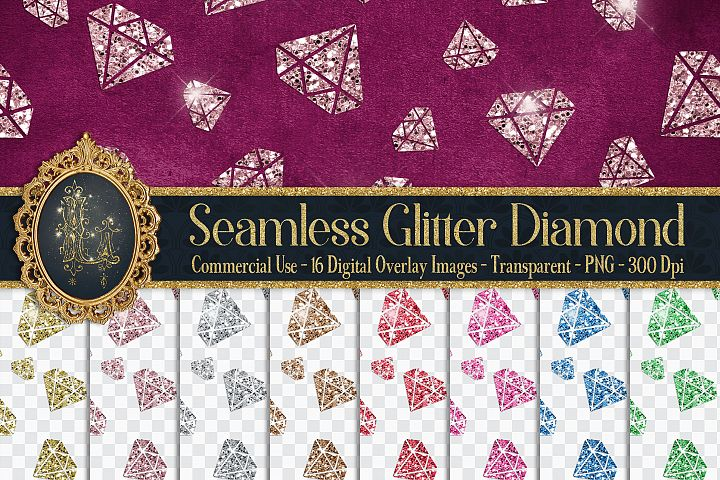 16 Seamless Glitter Diamond Wedding Overlay Digital Images