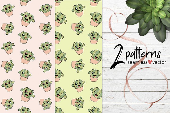 Patterns with funny cactuses EPS