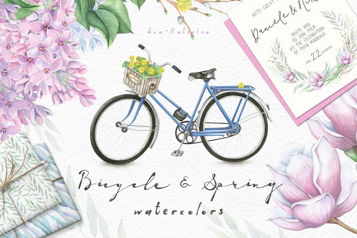 Spring and Bicycle Watercolors