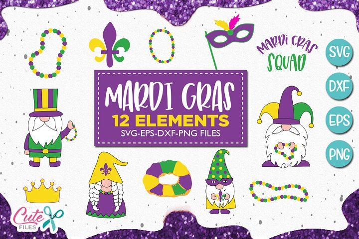 Mardi gras gnome mini bundle svg for crafters