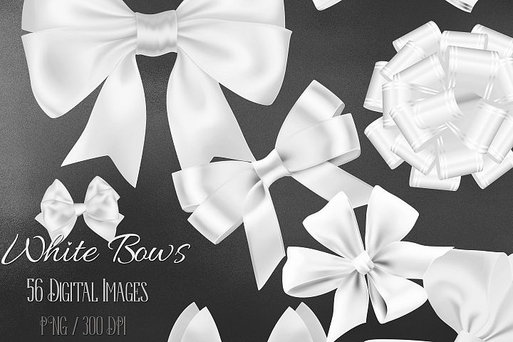 56 White Satin Bows and Ribbons Card Making Digital Images