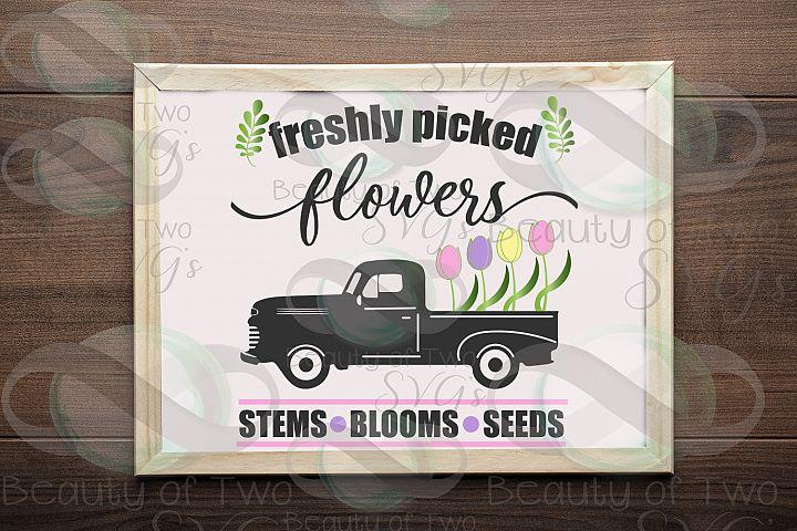 Spring Flowers Vintage Truck svg & png, fresh flowers svg