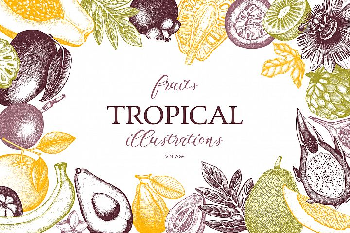 Vintage Tropical Fruits Collection