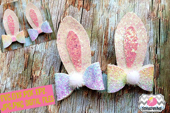 Easter Bunny Ears 2 Pieces Hair Bow Template