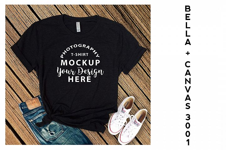 Bella Canvas 3001 T-shirt mock-up, color Black Heather
