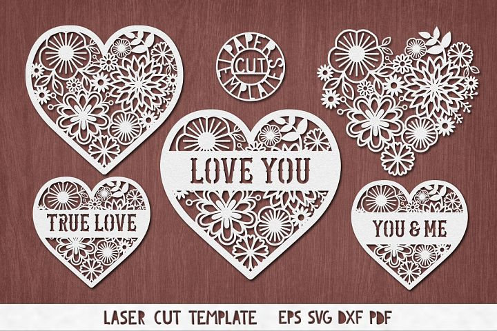 Romantic Hearts Collection for laser cutting.