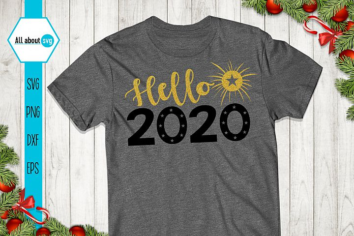 Hello 2020 svg, New Year Glitter Svg