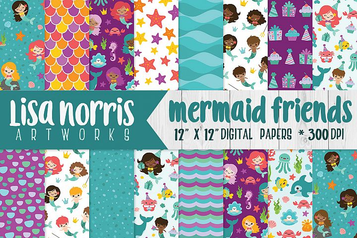 Mermaid Friends Digital Papers