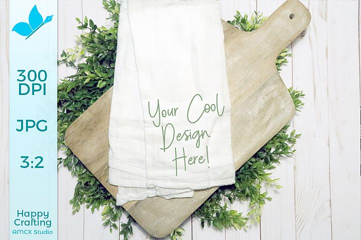 Tea Towel Mock Up - Rustic Farm House Mock Up