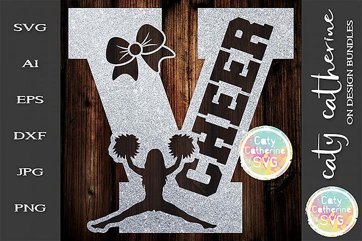 Letter V Cheerleading Monogram Letters SVG Cut File