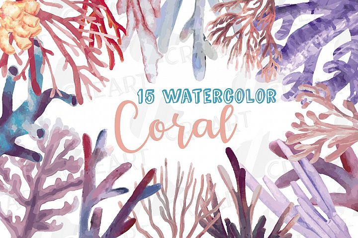 Watercolor blush Coral Reef clip art pack. coastal decor