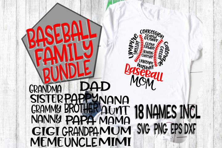 Baseball Family Bundle - SVG - DXF - EPS - PNG - 18 Names