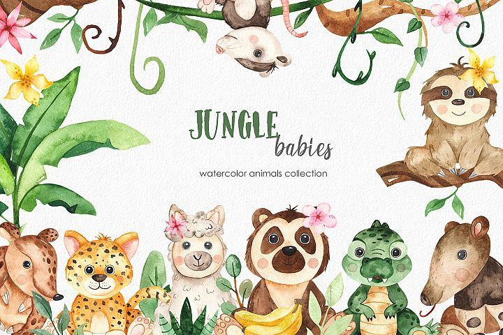 Watercolor jungle babies animals. Clipart, frames, cards