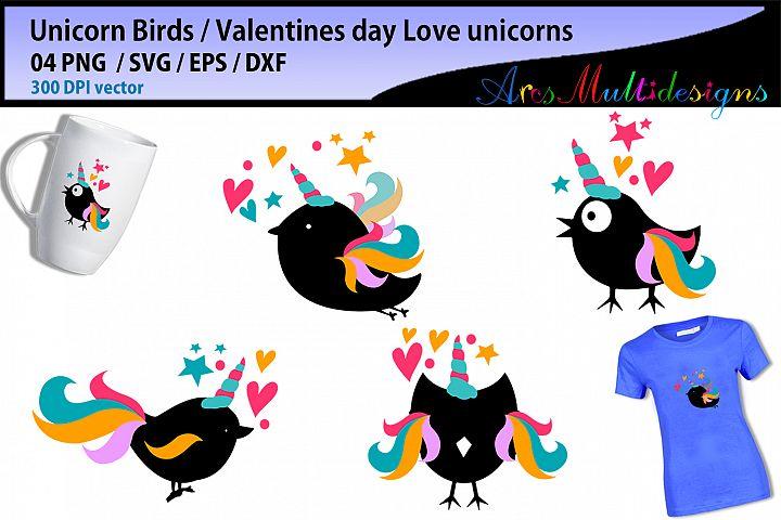 Unicorn birds / valentine unicorn SVG vector