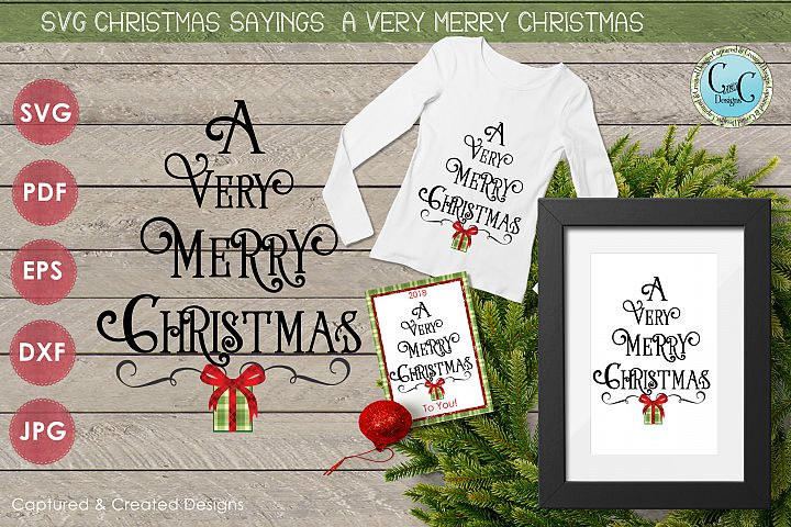 SVG Christmas Sayings- A Very Merry Christmas Tree Shape