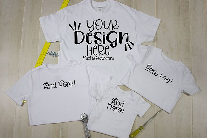 Gildan White Shirt with Boys, Toddler, Bodysuit And Tools